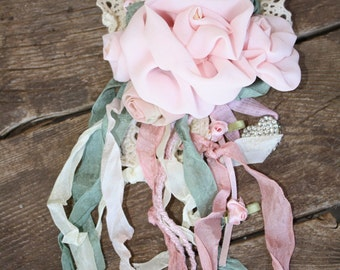 """Handmade Pink Rose"""" Rapture."""" Will make any ourfit look stunning. One of a kind."""