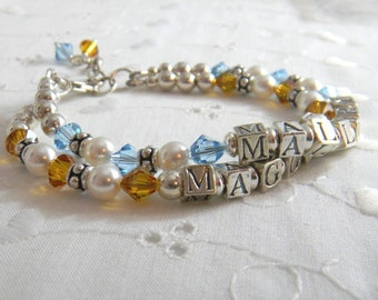 Two strand Personalized Mothers Bracelet Childs Name Bracelet multi strand Pearl Bracelet Crystal Sterling Silver