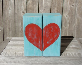 Bookends, wooden bookends, rustic bookends, modern bookends , heart, distressed wood, painted wood bookend