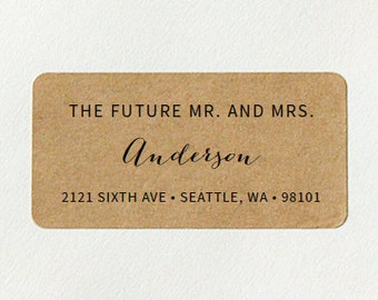 Custom Printed Return Address Labels - Future Mr and Mrs, Calligraphy Script Address Labels, Brown Kraft Labels, Rustic Wedding