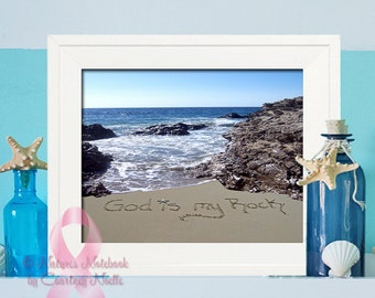 God is My rock - Inspirational Wall Art- Breast Cancer Awareness-