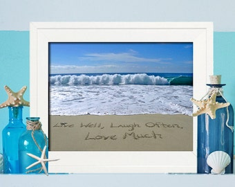 Live well , Laugh Often ,Love Much Sign - Housewarming Gift- Beach Cottage Artwork - Christmas Gift for Her - Birthday Gift for Her -