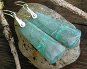 Bluegreen Peruvian Chryscholla and Sterling Silver Dangle Earrings