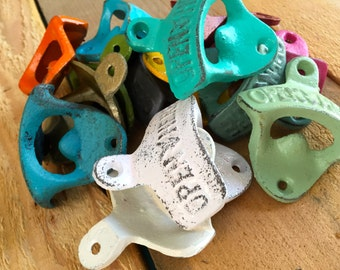 """Bottle Opener - """"Open Here"""" - Cast Iron - Wall Decor - Man cave - You Pick Color"""