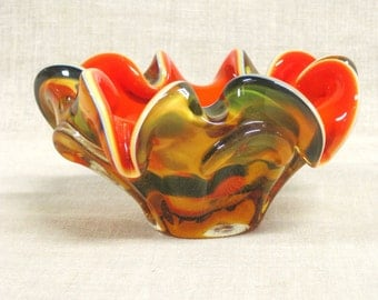 Candy Bowl , Candy Dish , Ashtray , Hand Blown , Glass , Italian Glass , Mid-Century , Orange , Multi Colored , Glass Dish , Glass Bowl