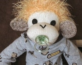 Baby Boy Sock Monkey.  One-of-a-kind sock monkey.  Made by hand in the USA.