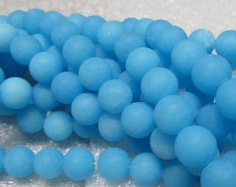 Jade Beads 8mm Baby Blue Sandblasted Matte Candy Smooth Rounds -  8 inch Strand