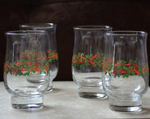 Flat Tumbler Holly and Ribbons by Libbey Crystal Glassware Christmas Tumblers Holiday Drinkware 1986/87