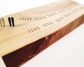 Handmade Wood Cribbage Board - Made from a slab of Bass Wood - 60 hole Two Track - Sketch Design