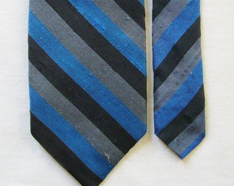 Vintage Skinny Dupioni Silk Necktie - Blue, Grey & Black Diagonal Stripe - Thai Silk