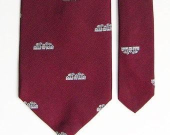 Vintage Maroon Necktie w/ Architectural / Institutional Building Overall Pattern - University Tie