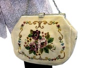 1950s Petit Point Tapesty Purse with Chain and Hand Fashioned by Mary Label with Eggplant Satin Lining - Large Vintage Floral Petit Point