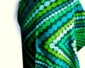 Vintage Silk Hand-Rolled Designer Scarf Concentric Polka Dots Green, Acid Green,  Turquoise Signed René Chantal