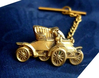 1960s Vintage Antique Automobile Tie Tack, Chain and Bar - Model T Roadster Car - Antique Coupe Tie Accessory - Car Tie Tack