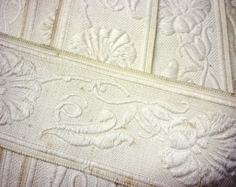 Antique French Cream on Cream Raised Thread Floral Woven Ribbon Trim Made in France - One Yard Art Nouveau Floral Cream Floral Trim
