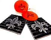 Fleur de lis~  Hey ya'll ~ Wood  ornaments with twine for hanging (4)