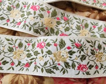 Vintage Jacquard Ribbon Trim - Gold & Pink Roses - Floral