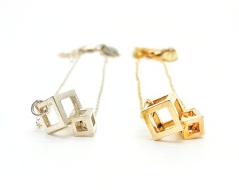 Cube Theory: 3d printed jewelry // steel, brass, and sterling silver // statement necklace