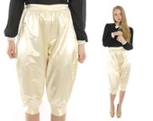 Vintage 30s Satin Knickers Ivory Cropped Pants Long Shorts Riding Equestrian Jodphurs Pants 1930s Small S Capri Pants High Waisted Pants