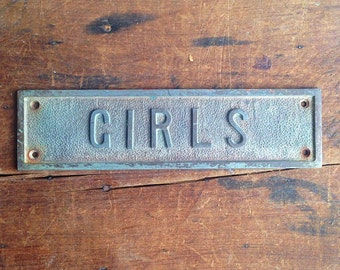 Vintage Girls Restroom Placard E2203