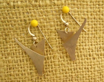 Abstract Earrings Sterling Silver Artisan Hand Fabricated Modern  (E-306)