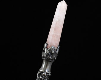 Earth Goddess Magic Wand magick ceremonial alter tool wicca potter rose quartz clear quartz ritual magical wizard