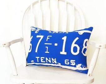 "Tennessee Cotton Canvas Pillow Cover 14"" x 20"" Blue Southern Farmhouse Rustic Decor Toss Throw Pillow Washable Nashville Wholesale Farmer"