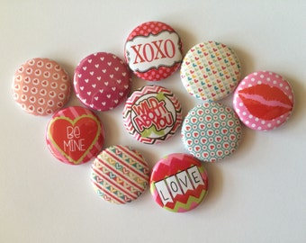 set of 10 1 or 1.25 inch valentines day pinback buttons, flatback buttons or hollowback buttons or magnets