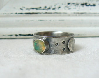Oxidized Sterling silver and Fire Opal Ring - SIZE 8.25 - READY to SHIP
