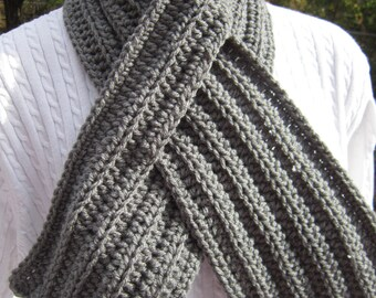 Ribbed Neckwarmer with Slit, Crochet Unisex Keyhole Scarf, Choose Your Color, Gray, Black or Brown, Gifts for Her, Gifts for Him Winter Wear