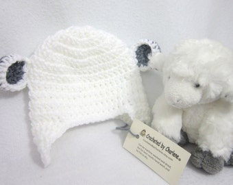 White Lamb Baby Cap, Crochet Baby Sheep Animal Hat, Photo Prop by Charlene, Soft White Beanie with Earflaps, Baby Gift for Easter