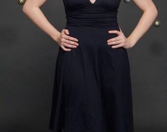 Simple Aline Dress - Short Aline Dress - Short Simple Dress - Deep Plunge Dress - Short V Dress - Deep V Dress - Black Aline Dress