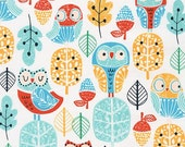 Owl Fabric | Robert Kaufman AWY-15625-269 PARK by Wendy Kendall from Acorn Forest Fabric by the Yard