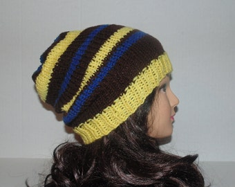 Slouchy Beanie Hat, Yellow, Brown and Blue, Striped Hat, Winter Hat