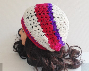 Crochet Tam, Cream, Purple and Pink Hat, Crochet Beanie, Womans Crochet Hat, Fall Fashion, Womans Accessories, Winter Hat
