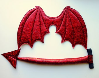 Red Devil Wings and Tail SET, Red demon costume, Halloween costume, devil costume, wire free, succubus, imp costume, cosplay devil