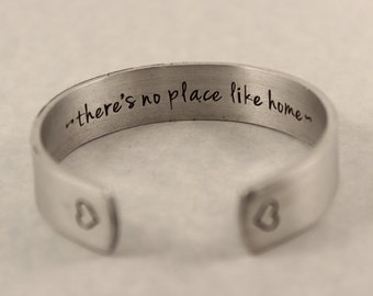 """CUSTOM 6"""" long x 1/2"""" Wide  Pure Aluminum Cuff Bracelet - Hand Stamped with YOUR choice of text."""
