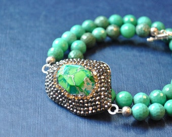 BLUES AND GREENS - chrysoprase, jasper and crystals wrap bracelet or a choker