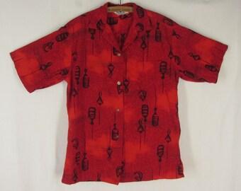 50s Aloha Shirt Women's Hoaloha Red Hawaiian Print Asian Lanterns