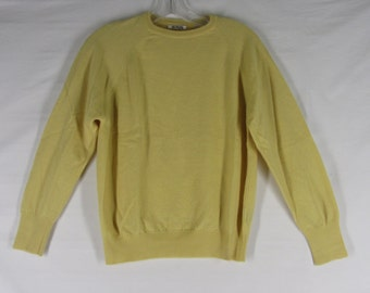 Vintage Yellow Wool Pullover Sweater M Round Neck England