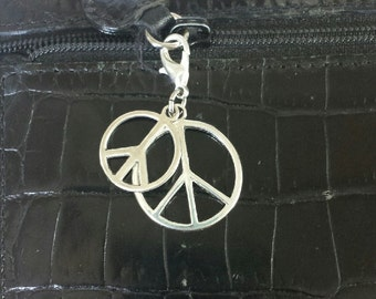 Double peace sign zipper pull, purse pull,  charm, bracelet