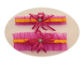 Hot Pink and Gold Wedding Garter Set with Rhinestone Deco