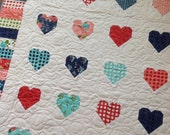 Heart Baby Crib Lap Quilt in Red, pink, Aqua and Navy blue Gooseberry fabrics