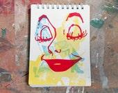 Vintage Smile - small hand pulled screenprint sketchbook