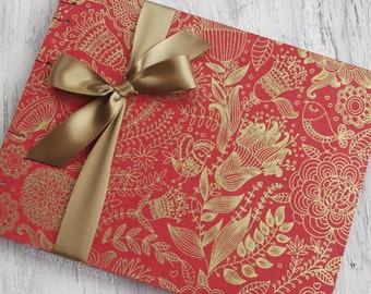 Wedding Guest Book, Party Guest Book, Indian Theme, Red Bohemian Floral, {MADE upon ORDER}