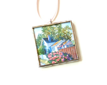 Miniature scene watercolor painting, art ornament, cubicle decoration, Summer cottage, lake house decor summer painting, Christmas ornament