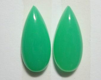 AAA Australia Chrysoprase Pear Teardrop Cabochon Pair, Earring Pair, Pendant Cabochon,18x8mm