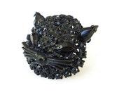 Black Cat Brooch, Black Rhinestones, Kitty Face Head, Whiskers, Japanned, Unsigned Warner, Vintage Jewelry