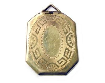 Art Deco Locket, Gold Filled, Embossed Greek Key, Octagon Shape, Sweetheart Jewelry, Antique Jewellery