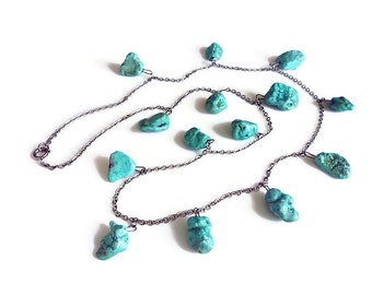 Vintage Necklace, Turquoise Stone, Nugget Charms, Sterling Silver, Long Dangle, Statement Necklace, Vintage Jewelry